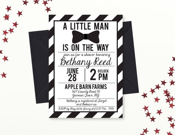 photograph about Bow Tie Printable known as Minor Guy Child Shower Invitation, Black and White Bowtie