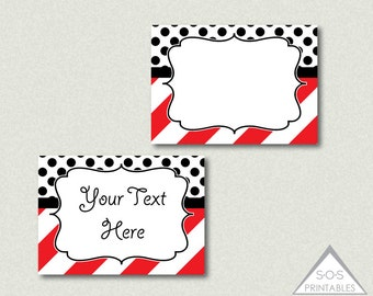 Red and Black Printable Labels, Stripes and Polkadots, EDITABLE labels, buffet labels, food labels, editable pdf file, add your own text