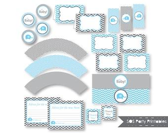 Elephant Baby Shower, Printable Baby Shower, Blue Elephant, Boy Baby Shower, Printable PDF, INSTANT DOWNLOAD