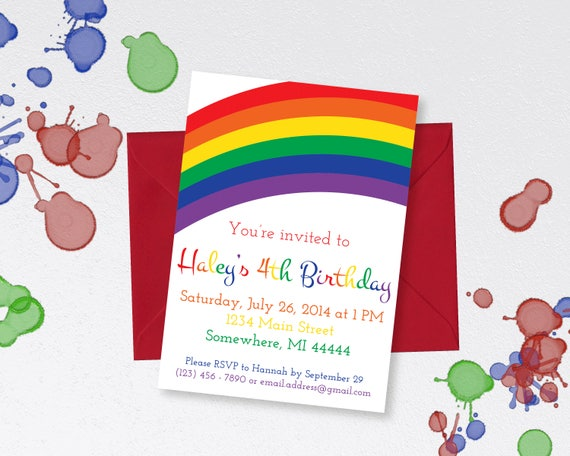 rainbow party invitation rainbow birthday rainbow invitation