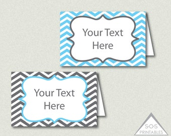 Gray and Blue Chevron Tent Labels - EDITABLE PDF - You add text - Instant Download - Immediate Download