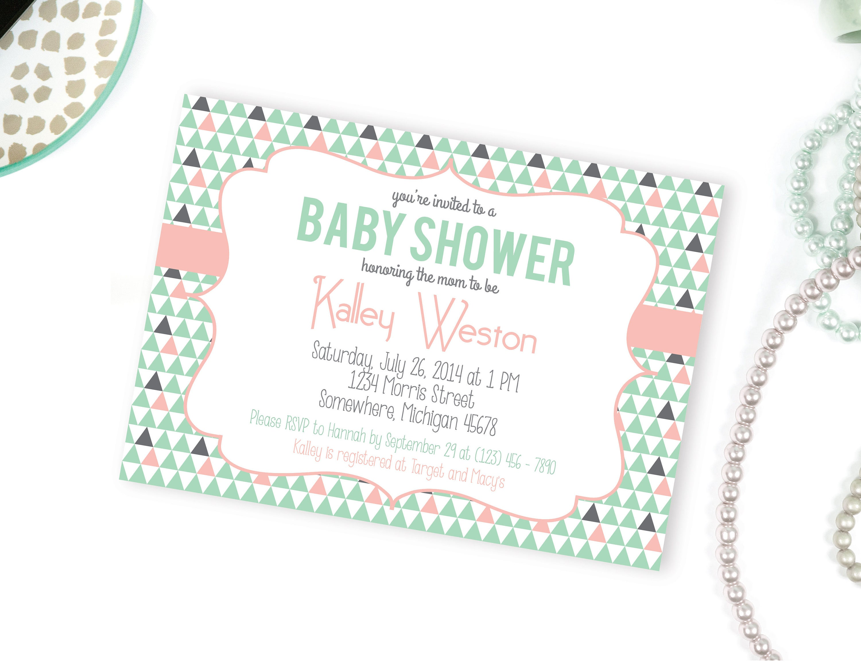 Printable Baby Shower Invitation Mint and Pink Baby Shower