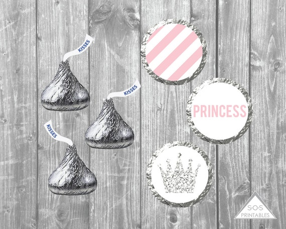 108 Royal Princess Birthday Party Baby Shower Hershey Kisses Stickers Pink Gold