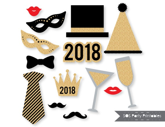 New Years 2018 Photobooth Props Gold Glitter New Years Eve Etsy