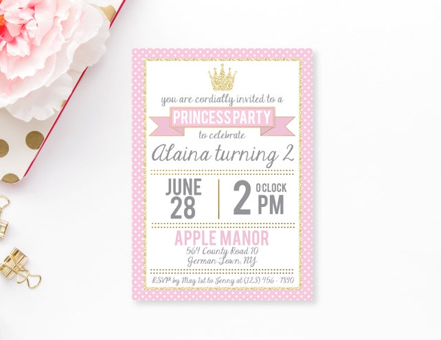 Princess Party Invitation Little Birthday Pink And Gold Invite Digital Editable Printable Polkadot