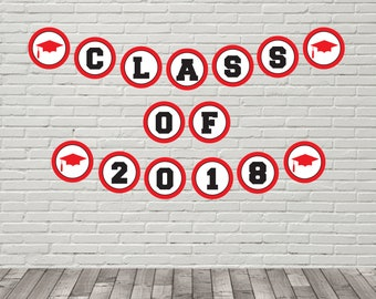 Graduation Banner, Class of 2018 Banner, Open House Banner, High School Graduate, College Grad, red and black, Printable Banner, PDF