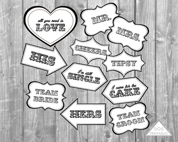 graphic relating to Wedding Photo Booth Props Printable titled Rustic Nation Marriage ceremony Picture Booth Signs or symptoms, Black and White