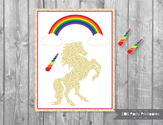 photo about Pin the Horn on the Unicorn Printable called Pin the Horn upon the Unicorn, Glitter Unicorn Sport, Rainbow, Magical Unicorn Birthday, Printable Get together Video game, Unicorn Birthday Video game