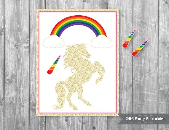 image about Pin the Horn on the Unicorn Printable known as Pin the Horn upon the Unicorn, Glitter Unicorn Match, Rainbow, Magical Unicorn Birthday, Printable Bash Recreation, Unicorn Birthday Match