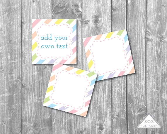 pastel rainbow favor tags editable gift tags editable labels