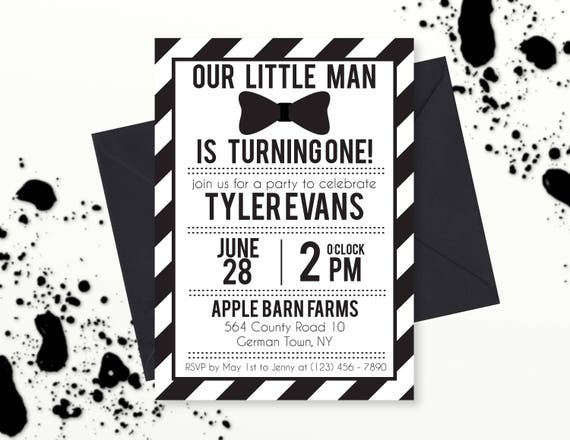 Our Little Man Is One Invitation Black And White Bowtie Birthday Bow Tie Printable PDF Digital