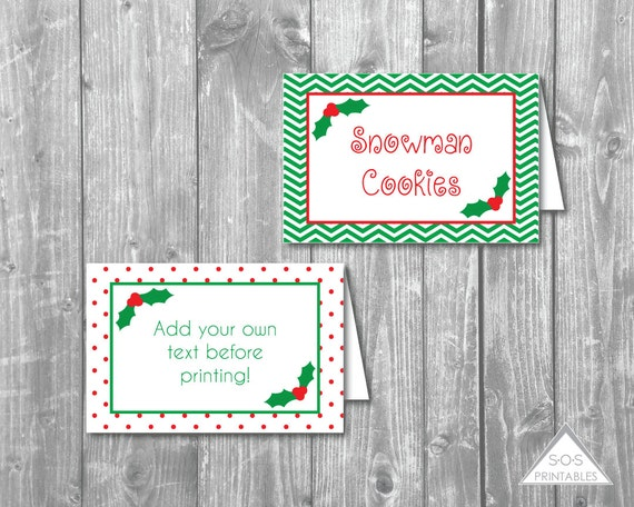christmas tent labels christmas printables name place cards tent