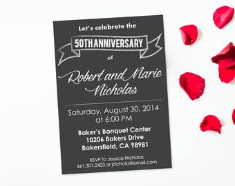 Anniversary invite etsy 50th anniversary invitation fiftieth anniversary invite chalkboard invitation anniversary party anniversary celebration stopboris Image collections