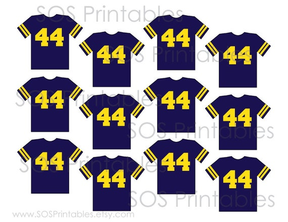 Football Jersey Cupcake Toppers Custom School Colors And