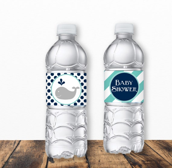 Blue Whale Baby Shower Water Bottle Labels Boy Baby Shower