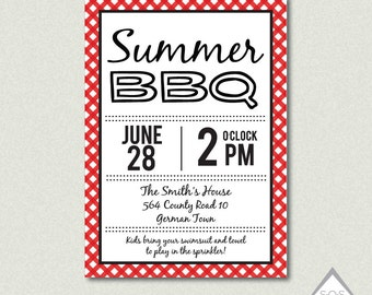 Summer BBQ Invitation, Backyard BBQ, Barbeque Invite, Printable Invitation, Digital File
