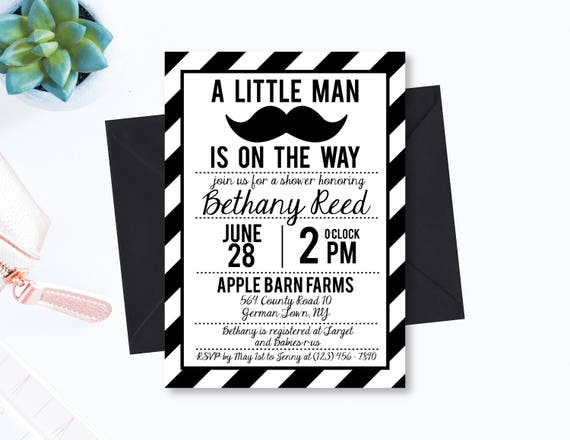 Little man mustache baby shower invitation black and white etsy image 0 filmwisefo