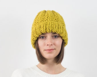 Chunky Knit Hat, Fold-Over Brim Beanie, Wool Blend | THE PORTLAND in Citron
