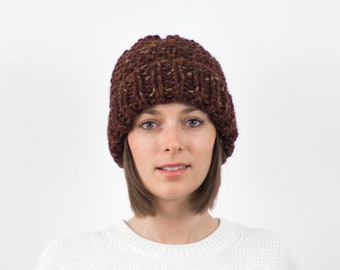Chunky Knit Hat, Fold-Over Brim Beanie, Wool Blend | THE EDINBURGH in Chai