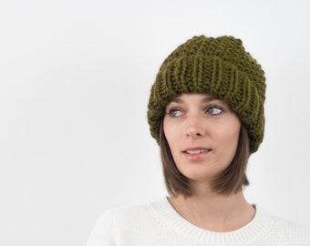 Chunky Knit Hat, Fold-Over Brim Beanie, Wool Blend | THE EDINBURGH in Evergreen
