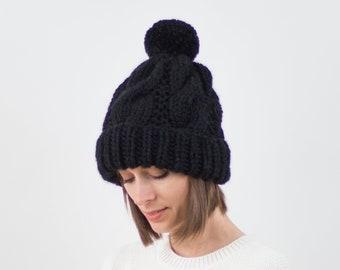 Cable Knit Pom-Pom Hat, Fold-Over Brim, Wool Blend | THE STOCKHOLM in Black