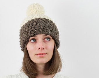 Chunky Knit Pom-Pom Hat, Two-Tone, Wool Blend | THE OSLO in Barley + Snow