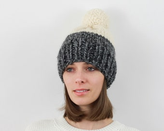 Chunky Knit Pom-Pom Hat, Two-Tone, Wool Blend | THE BERLIN in Summit + Snow