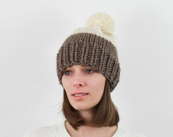 Chunky Knit Pom-Pom Hat, Two-Tone, Wool Blend | THE BERLIN in Taupe + Snow
