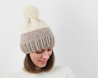 Chunky Knit Pom-Pom Hat, Two-Tone, Wool Blend | THE BERLIN in Linen + Snow