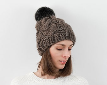 Cable Knit Hat with Faux Fur Pom, Wool Blend | THE BELFAST in Barley with Black Pom