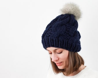 Cable Knit Hat with Faux Fur Pom, Wool Blend | THE BELFAST in Navy with Beige Pom