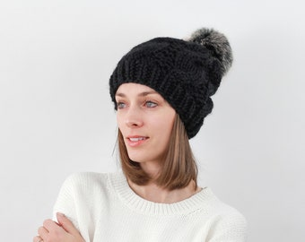 Cable Knit Hat with Faux Fur Pom, Wool Blend | THE BELFAST in Black with Black Pom