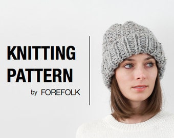 Knitting Pattern | Super Bulky/Weight 6 Knit Fold-Over Brim Hat | THE EDINBURGH Instant Download
