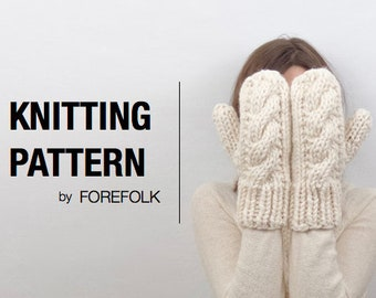 Knitting Pattern   Super Bulky/Weight 6 Cable Knit Mittens   THE CARDIFFS Instant Download