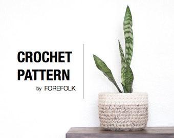 Crochet Pattern | Crochet Plant Basket, Two-Tone Storage Basket, Super Bulky/Weight 6, Home Decor | THE PHOENIX Instant Download