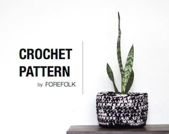 Crochet Pattern | Crochet Plant Basket, Storage Basket, Super Bulky/Weight 6, Home Decor | THE ALBANY Instant Download