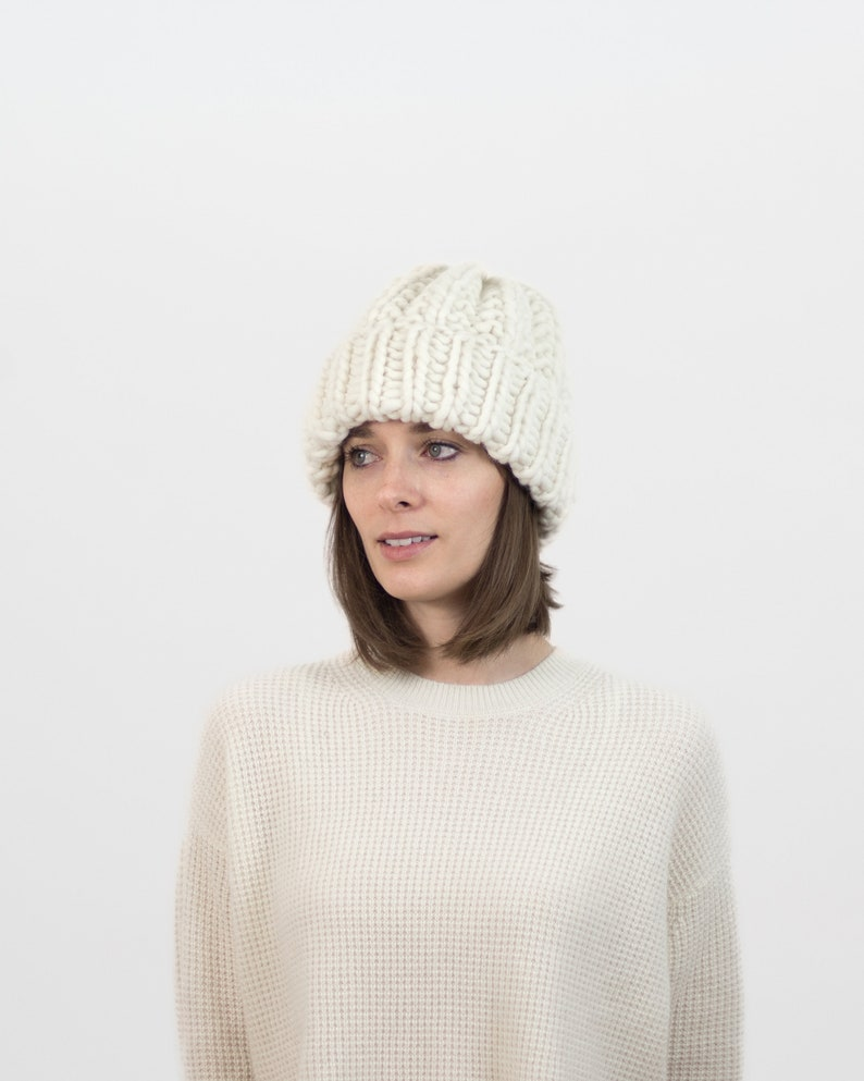 6a6a51a25 Knit Beanie, Wool Hat, Chunky Knit, Ribbed Hat, Toboggan Hat, Knitted  Accessories, Sustainable Winter Hat | THE COZY BEANIE in Ivory