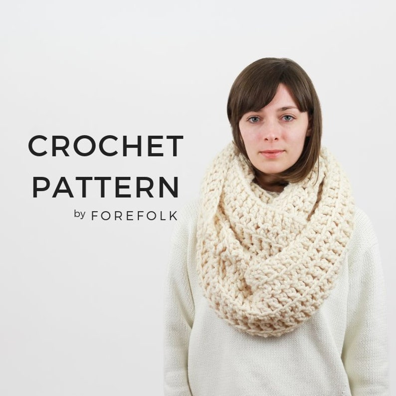 Crochet Pattern Infinity Scarf Pattern Giant Scarf Chunky Etsy