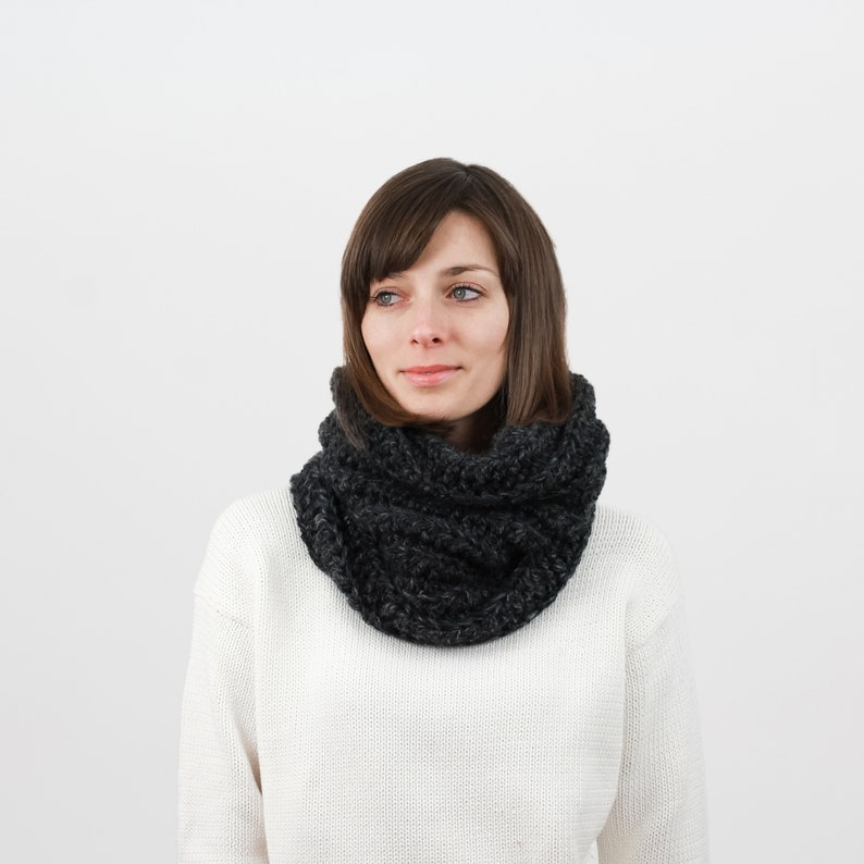 Cowl Scarf Chunky Knit Crochet Cowl Ribbed Scarf Snood Etsy