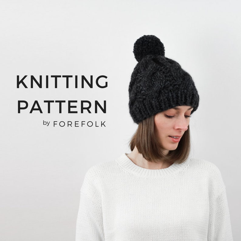 19dc9627 Knitting Pattern Cable Knit Hat Pattern Chunky Knit Winter image ...