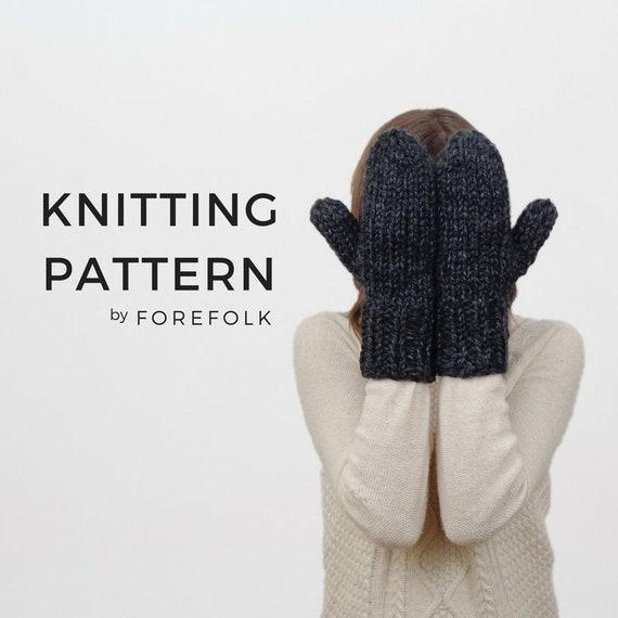 Knitting Pattern Knit Mittens Chunky Knit Womens Mittens | Etsy