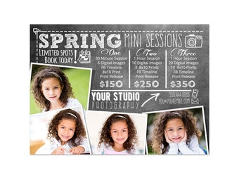 Mini Sessions Template - 5x7 Spring Marketing Board 003 for Photoshop and Photoshop Elements