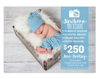 Mini Sessions Template 5x7 Newborn Mini Marketing Board Photoshop Template