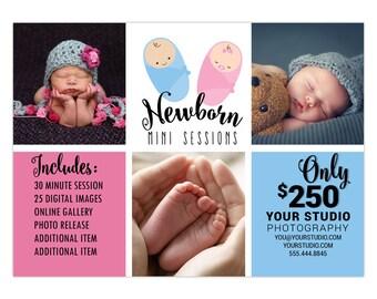 Mini Sessions Template 5x7 Newborn Mini Marketing Board Photoshop Template