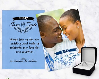 Save The Date Photoshop Template - 2 sided customizable photoshop template - engagement announcement card - editable text and colors