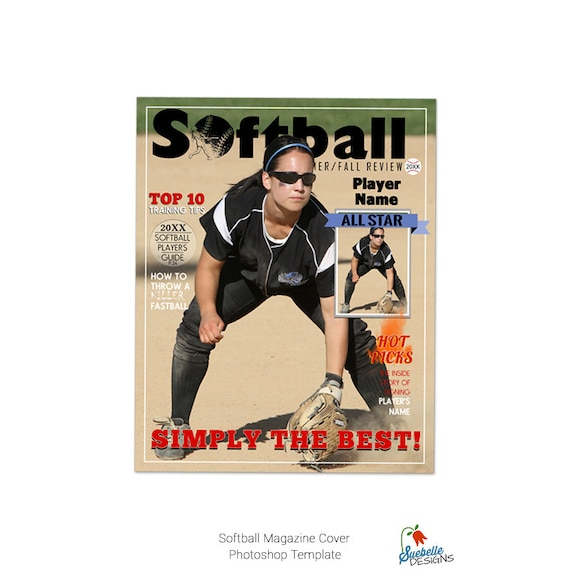 Softball Magazine Cover Template 001 Etsy