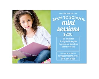 Back To School Mini Sessions Marketing Board 003 Photoshop Template for Professional Photographers