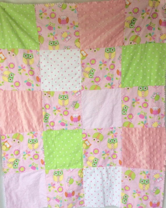 Owl Baby Rag Quilt Whoo-ray It/'s a Girl