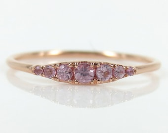 Seven-Stone Graduated Light Pink Sapphire Ring in 18K Rose Gold