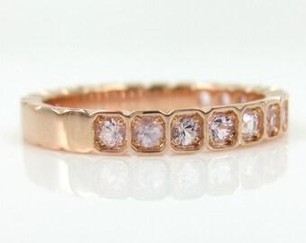 2.8mm Half-set Square Bezel Box Light Pink Sapphire Band  - Wedding Band- Stacking
